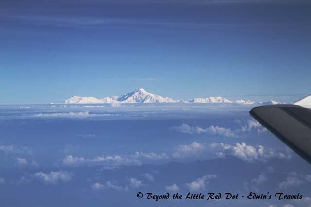 Majestic view of the Himalayas from the plane.