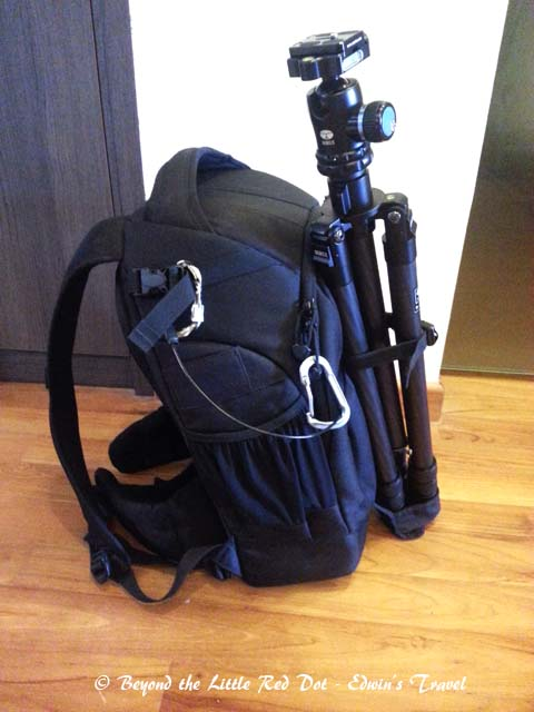 I can carry along a tripod if required. There is also an attached rain cover.