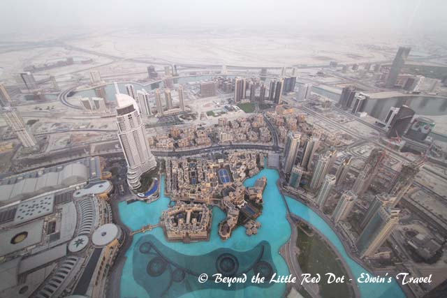 Looking down at our hotel and the Dubai Fountain.