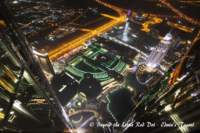 The green lighted building is only a small part of Dubai Mall.