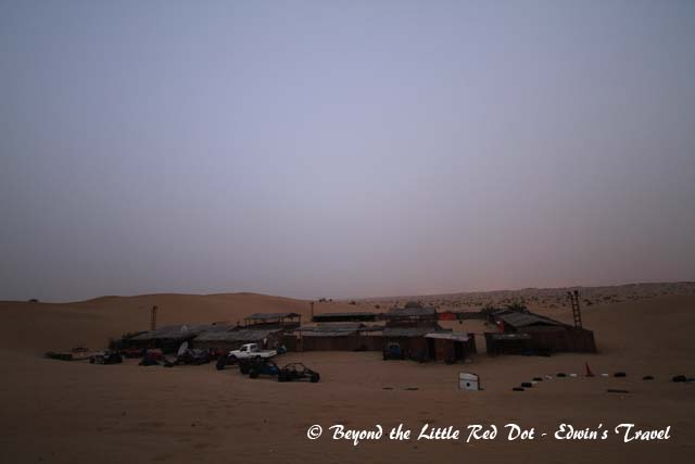 Dawn over the camp site and the desert. We couldn't wait to return to our hotel to wash away the sand and sweat.