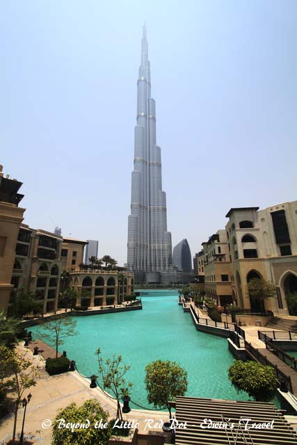 A view of Burj Khalifa. The Palace Hotel is on the left and the Souk (bazaar) is on the right.