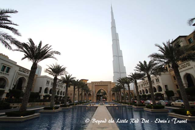 The driveway leading to  The Palace Hotel with Burj Khalifa in the back.