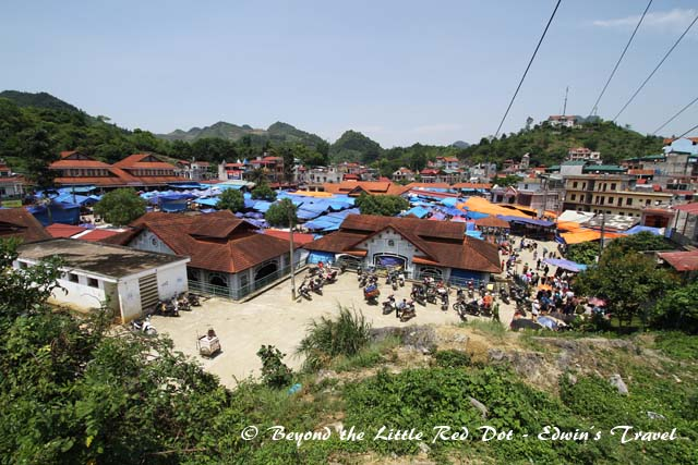 Bac Ha market as seen from the top of the hill where the cattle market is. It only opens on Sunday mornings.