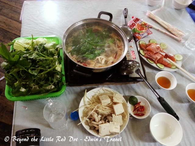 Steamboat dinner with salmon. It cost us VND500,000 and could feed 4-5 persons.