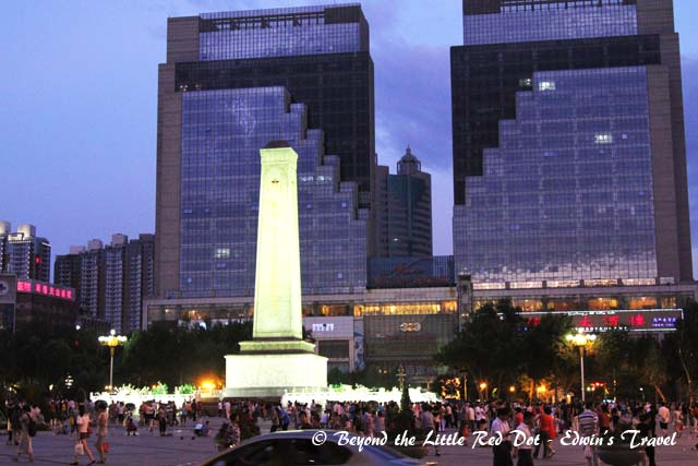 The city square of Urumqi. People gather here every night for dancing and other social activities.