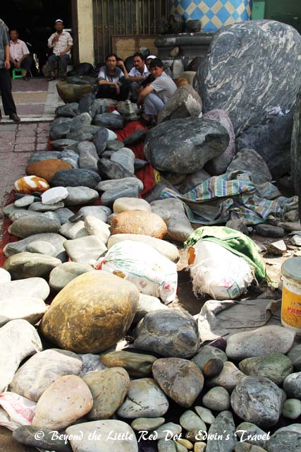 The jade market. The little rocks in front are raw jade boulders.
