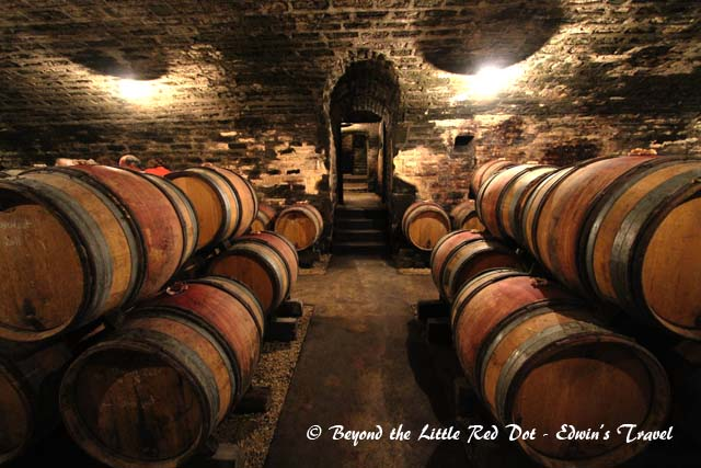 Our visit to a wine cellar. The wines are put in the barrels to age.