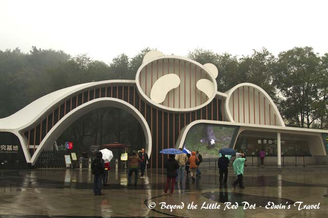 A wet morning as I arrived at the main entrance to the Giant Panda Breeding Research Base.