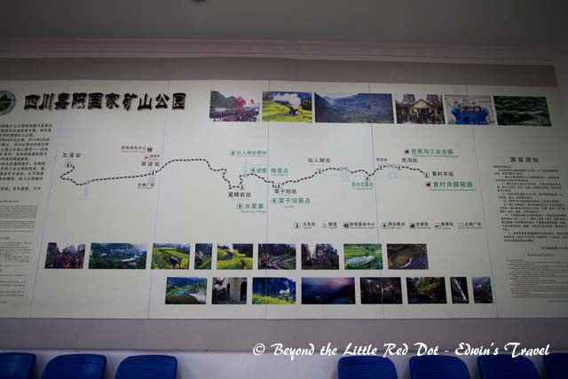 A map of the train route inside the small train station. It is around 20km one way.