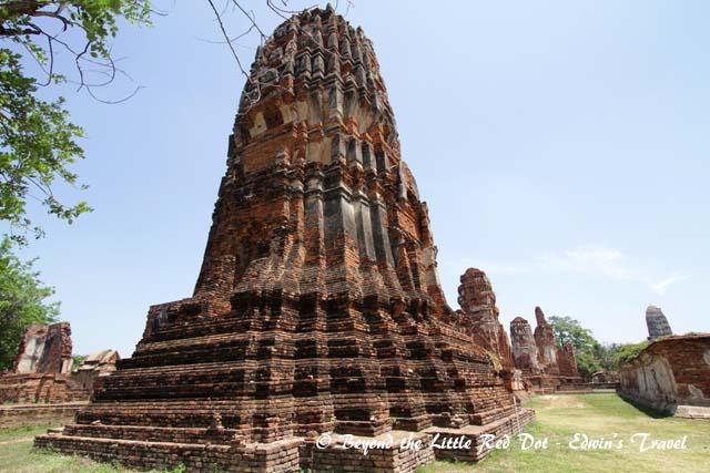 Numerous stupas line the ruins.