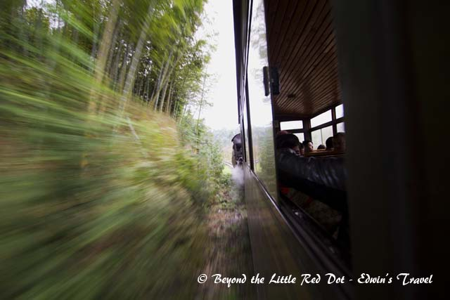 The train travels at a slow speed of around 30-40km/h.