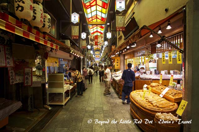 One of the narrow streets in Nishiki Market.