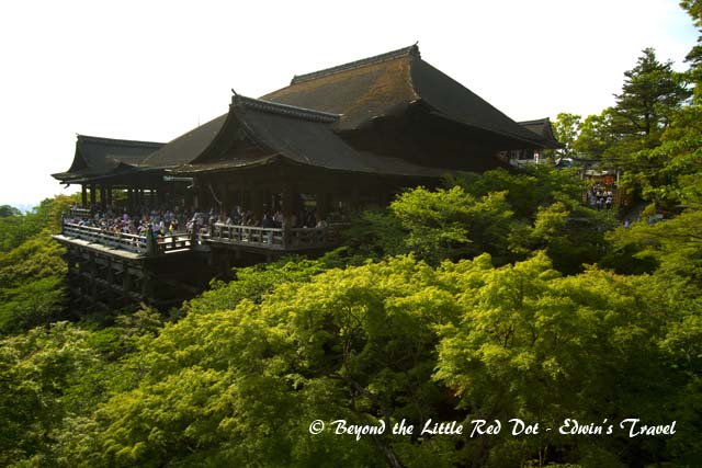 The main hall of the temple which juts out from the hill side.