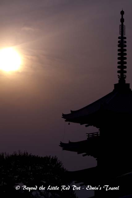 The sun setting over Kyoto.
