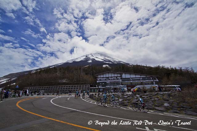 The topmost and last station for vehicle access. This station is not always open depending on weather conditions. The cyclists are really fit. They cycled all the way from the bottom to the top of the mountain.
