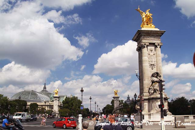 Crossing Pont Alexandre III to get to the Eiffel Tower.