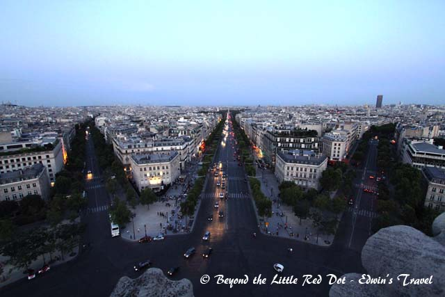 You are not allowed to use your tripod on top of the Arc. This is the view of Champ Elysees (center) at dusk.