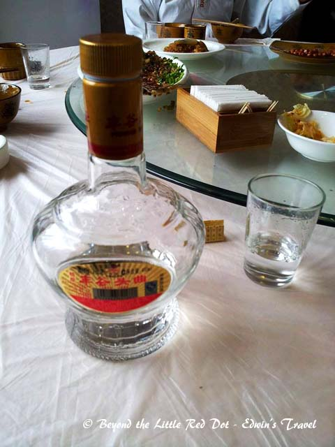 Chinese rice wine to wash it all down. At more than 50% alcohol content, I swear you can run your car on this stuff.