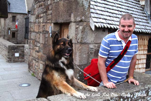 A friendly local with his dog.