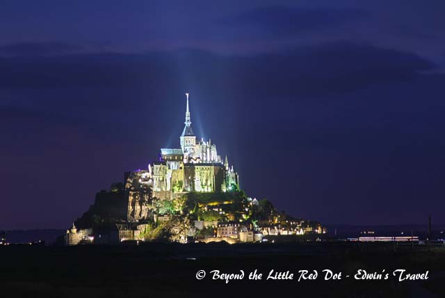 And finally, a night view of Mont St. Michel taken from the dam that is built near our hotel.