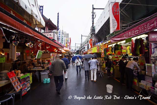 The street market of Ueno. You can easily get here by subway. Just look for the station with the same name. You can find all kinds of stalls selling everything from food to Pachinko arcades to sex shops. There are also several golfing shops around.
