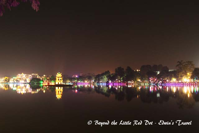 Hoan Kiem Lake lighted up for Christmas and New Year celebrations.