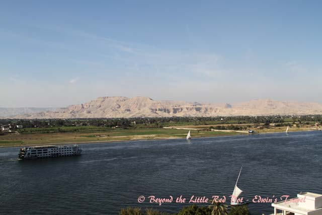 So this is the famous River Nile. Stories have been told about it throughout history. In the distance is the Valley of the Kings, resting place of Pharaohs.