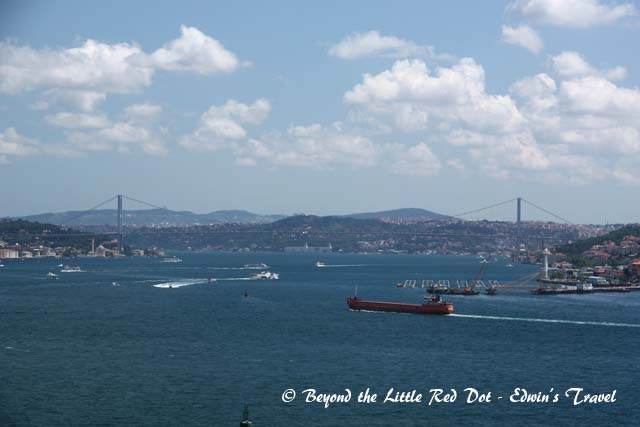 A view of the Bosporus Strait from Tokapi Palace.