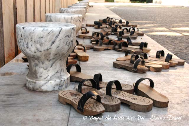 Sandals for worshippers to wear while they wash their feet, before entering the mosque.