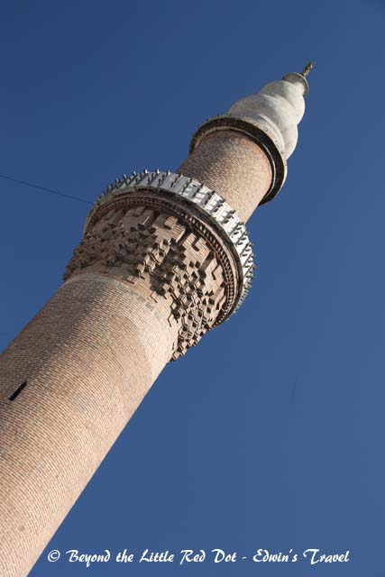 The minaret of the Grand Mosque in Bursa.