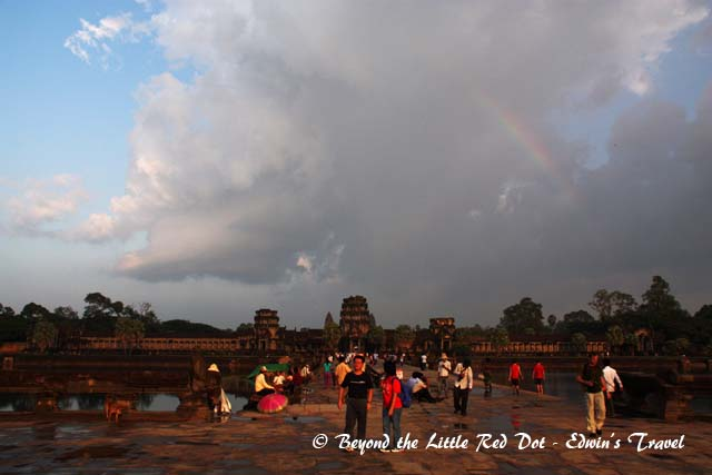 As we took one last look at Angkor Wat, we could see a rainbow forming over the temple. Beautiful!