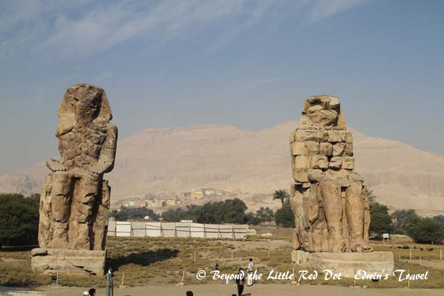 After visiting the  Valley of the Kings, we have a short stop to see the Colossi of Memnon. These are 2 massive statues of Pharaoh Amenhotep III, and have been sitting there for more than 3,400 years.