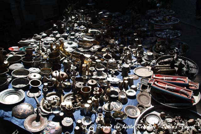 Antiques for sales by the street.