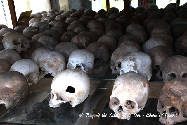 The memorial is filled with the skulls and bones of victims of the Khmer Rouge.