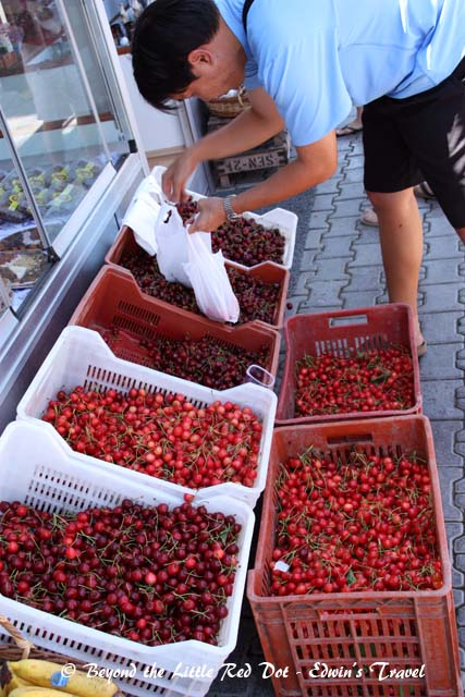 Buying cherries by the kilos. It's around $1 for 1 kg.