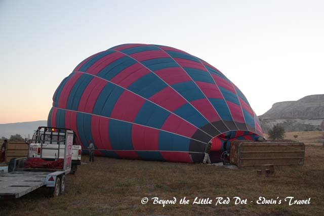 Preparing the balloon for flight.