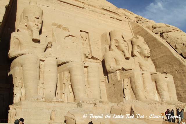 Close up of the massive statues of the pharaoh.
