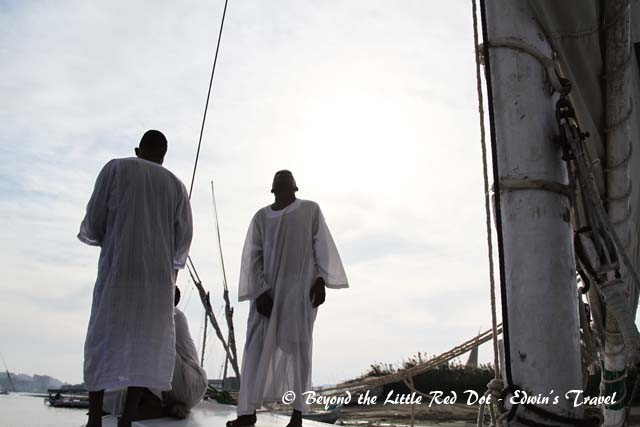 Our Nubian crew preparing to cast off.