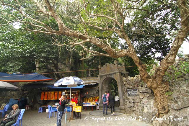 Even after taking the cable car to the top, we still had to do some climbing. This is the entrance to the cave with all the tired and sore tourists sitting around.