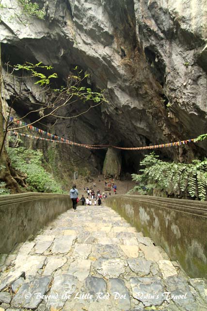 The stairs leading down to Huong Tich cave. The cave entrance is said to resemble the mouth of a dragon.
