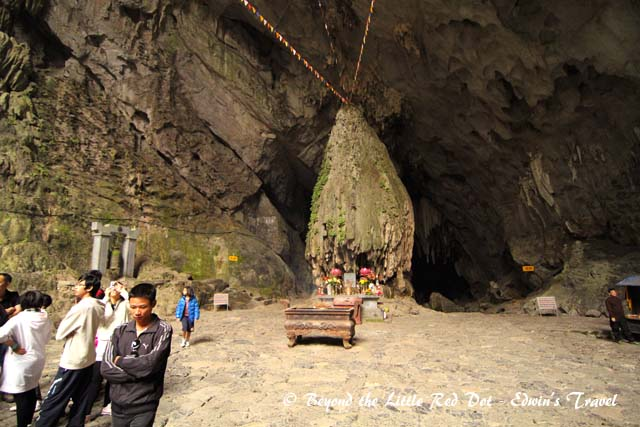 At the entrance of the cave is a large shrine.