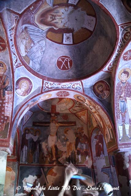 The churches are quite small but have very elaborate frescos on their walls and ceilings.