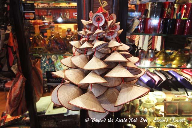 Souvenirs at a tourist shop in the Old Quarter.