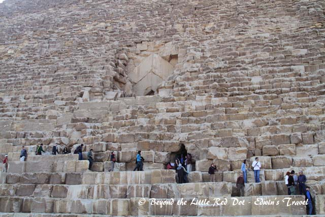Visitors can climb up the Great Pyramid to see the burial chamber.