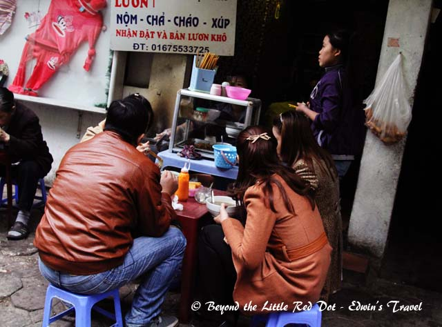 Eating on stools and by the roadside is a daily affair.