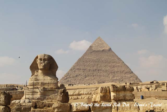 The Great Sphinx in front of the Pyramids.