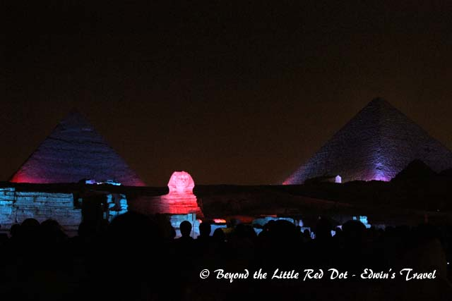 Watching the Sound & Light Show at the Great Pyramids.