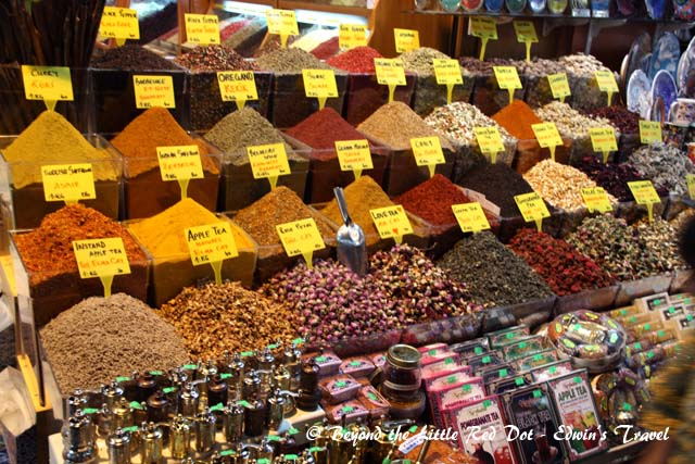Spices for sale. Besides spices, there are many other things like cheese, Turkish delights, food, etc.