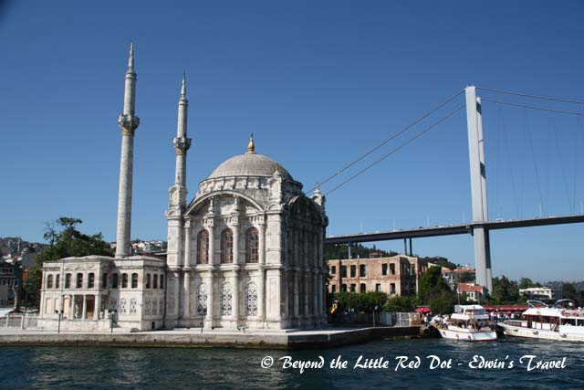 The Ortakoy Mosque with the Bosporus Bridge. This is also where we get off the ferry.